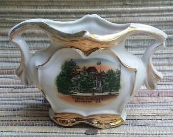 Streator IL Public Library Souvenir or Commemorative Porcelain Vase