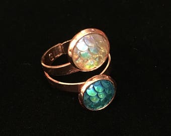 10mm Blue&White Mermaid Scales Double Bezel Rose Gold Adjustable Ring