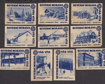 Vintage Matchbox Labels from Czechoslovakia - 1961 - Ski Resort - Collectable, Artist Trading Cards, Mixed Media