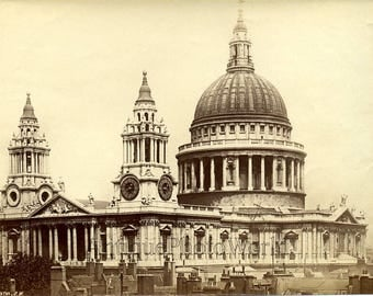 St. Paul's cathedral London England antique photo
