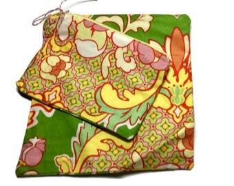 Reusable Sandwich/Snack Bags set of 2  Heather Bailey Green Orange Yellow Zipper Bags