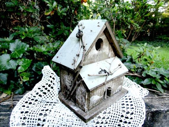 Old Bird House Vintage Bird House Wooden Bird House Metal