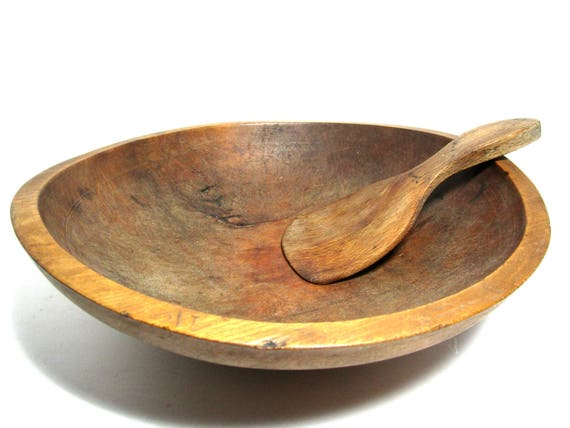 Antique Dough Bowl with Spatula, 12 Inch Diameter, Large Wooden Dough Bowl and Paddle,  Primitive Rustic Decor,  Early 1900s