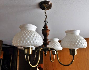 Vintage Four Light Hobnail Milkglass Celing Lamp, Late 1950's to Mid 60's Early American Country Style Chandelier