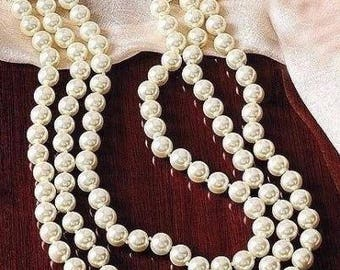 Jackie Kennedy Long Pearl Necklace - 30-Inch Triple Strand