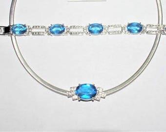 Jackie Kennedy Blue Topaz Necklace Set - 2 pc Rhodium Plated - Sz 7