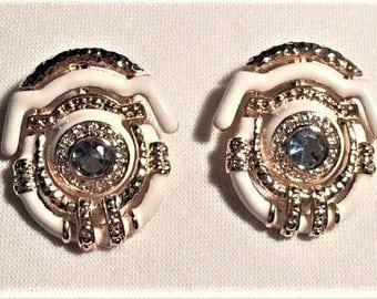 Jackie Kennedy Convertible Earrings - Gold Plated with Enamel and Stones, Box and Certificate