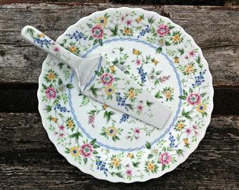Vintage Cake Serving Plate with Server Knife Andrea by Sadek Platter Accent Plate Floral Design Pink Yellow Blue Flowers Raised Porcelain