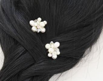 CLARICE Crystal & Pearl Hair Pins x2,Hair Pin Set,Wedding Headdress,Bridal Hair Pins,Modern Hair Pins,Pearl Hair Accessory, Bridesmaids Pins