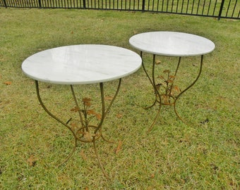 Vintage Mid Century Iron and Marble Tables
