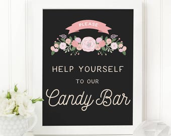 Rustic Wedding Candy Bar Sign - Please Help Yourself to our Candy Bar - Wedding Candy Table Sign - The Cady Sign Set