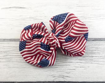 American Flag Fabric Bow on CHOICE of French Clip or Headband