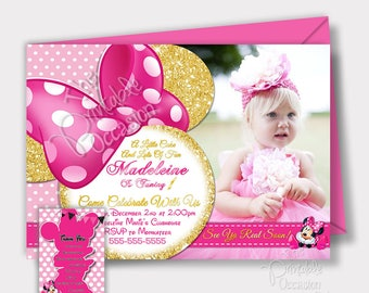 Pink Minnie Mouse Invitation, Pink and Gold Glitter Minnie Mouse Invitation, Printable Photo Invitation, Minnie Mouse Invitations, Digital