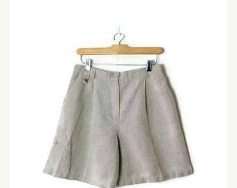 ON SALE Vintage Light Beige /Oatmeal Linen blends High waist Flare Shorts/W27*