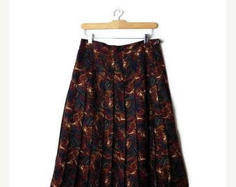 ON SALE Vintage Horse Harness/horn printed Pleated Flare Skirt from 80's/W29/burgundy*