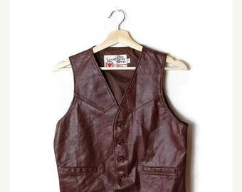 ON SALE Vintage Brown Men's Leather Vest  from 1980's*