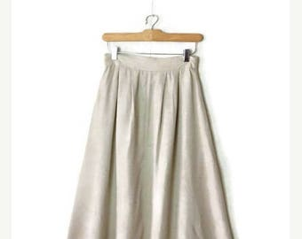 ON SALE Vintage Off white/Oatmeal Flare Long Skirt from 1980's/W25-34*