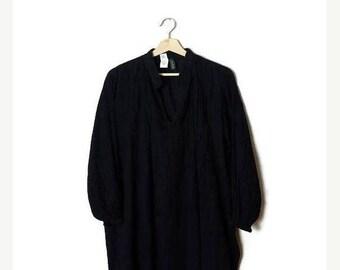 ON SALE Ralph Lauren Black Long sleeve Cotton Gauze Tunic Blouse/Minimal*