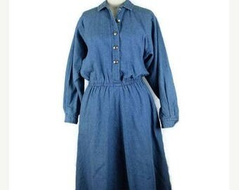 ON SALE Vintage Denim Long Sleeve Button down Casual  Dress from 90's*