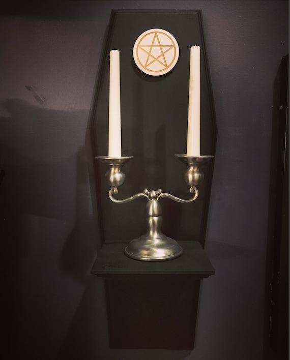 Coffin Wall Shelf w/ Pentagram and CandleHolder