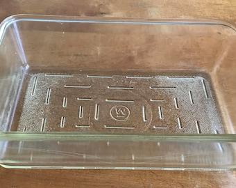 Vintage Westinghouse Rectangular Thick Glass Refrigerator Dish 10 x 6 1/2