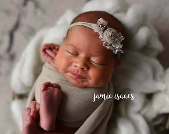 Beige Cream elastic headband, Nylon Beige baby headband ,Ivory beige baby photo prop