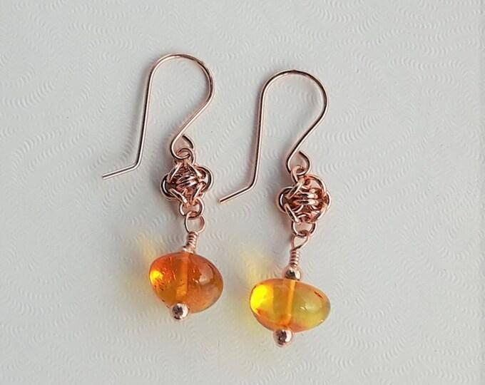 Amber Glow Earrings (Shepherd Hook Style)