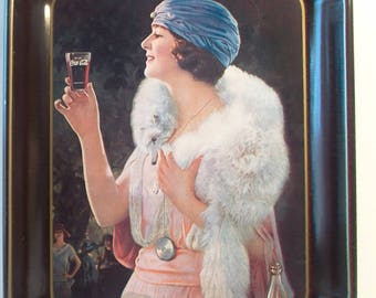 Vintage Coca Cola Tin Tray Flapper Woman Wearing Fur Stole Collectible Coke Soda Kitchen Entertaining Home Decor