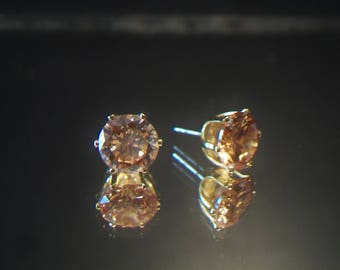Champagne CZ Studs Post Earrings Costume Jewelry Fashion Accessories For Her
