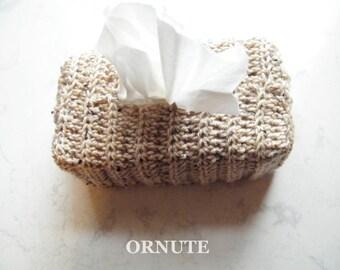 Tissue Holder Kleenex Cover Crochet Tissue Box Cover Taupe Tissue Cover Rectangular Tissue Box Holder Kleenex Box Cover