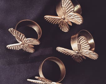 Vintage Brass Butterfly Napkin Rings Set of Four