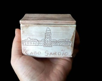 ONSALE Lighthouse jewelry box, ceramic box of treasure, pottery box with lid, small rectangular box, handmade cute ring box, miniature be...