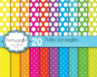 80% OFF SALE polka dot brights digital paper, commercial use, scrapbook papers, background  - PS610