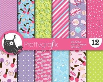 80% OFF SALE Spa girls papers, commercial use, scrapbook papers, background  - PS657