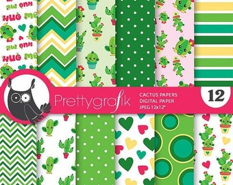 80% OFF SALE Cactus digital papers, commercial use, cactus scrapbook papers, valentine papers, background - PS838