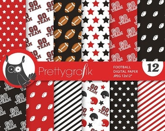 80% OFF SALE Football digital paper, commercial use, scrapbook papers, background chevron, stripes, sports, team - PS737