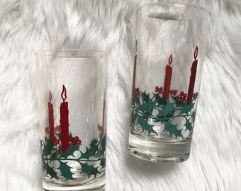Set of 8 Vintage Kitchy Christmas Candle Glasses Juice Cups Stained Glass Mid Century Tumblers