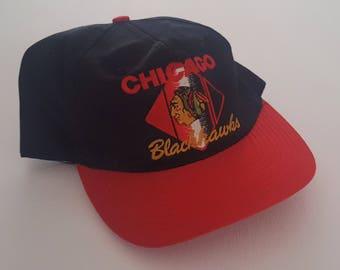 Vintage Chicago Blackhawks CCM Snapback Hat NHL VTG