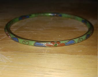 Beautiful Vintage Thin Genuine Chinese Green Floral Cloisonne Bangle Bracelet