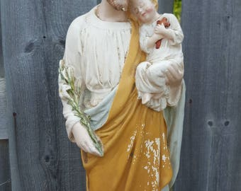 """Antique ST. JOSEPH With Baby Jesus 16"""" Chalkware Statue Religious Relic From An Old Nuns' Convent Richer Manitoba Metis Origin Chippy Paint"""