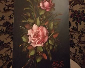 Vintage Oil on Canvas , Frameless Floral Painting , Pink Roses Oil on Canvas
