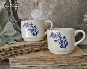 Vintage White Ironstone Coffee Cup Blue Transferware Restaurant Ware Stackable Farmhouse Decor Fixer Upper Decor Set of 2