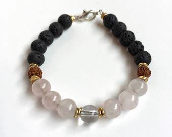 Black Lava Essential Oil Diffuser Bracelet/Rose Quartz Bracelet/Lava Bracelet/Aromatherapy Bracelet