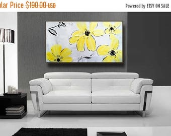 "48"" Yellow Flowers Black Gray White Original Abstract Acrylic Painting on Canvas Wall Art Home Decor UNSTRETCHED AUL085"