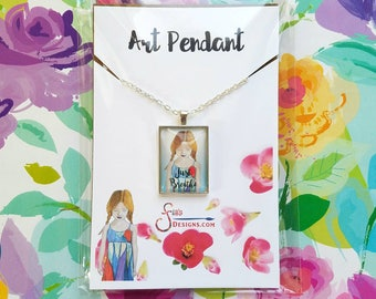 Just Breathe Pendant Necklace of a miniature inspirational art print from original whimsical drawing of yoga girl in dress. Unusual gift.