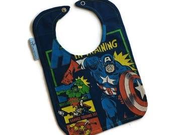 Captain America Baby Bib •  Superhero Bib • Upcycled T-shirt Baby Bib • Captain America Bib • Baby Gift