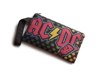 ACDC Bag • Upcycled Tee Shirt Bag • Wristlet • Clutch • ACDC Gift