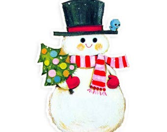 Large Vintage Snowman Die Cut | Whimsical Snowman Die Cut | Vintage Snowman | Vintage Snowman Ephemera | Vintage Christmas | Retro Snowman