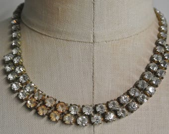 Vintage Rhinestone Necklace, Double Strand Statement Necklace, Prong Set, Stunning,Authentic Vintage Bling,Beautiful piece By UPcycled Works