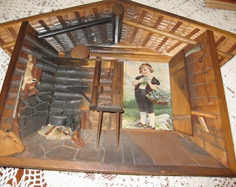 "FOLK ART WOODEN Shadow Box Diorama Alps Log Home Interior 12 1/2"" x 13"".   German Style Art German Folk Art"